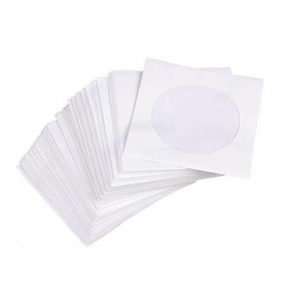 95Pcs Mini Protective White Paper CD DVD Disc Storage Bag Case Envelopes Flap