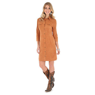 Caramel Apparel - WRANGLER Women's Caramel Faux Suede Button Down Western Shirt Dress LWD371T NWT