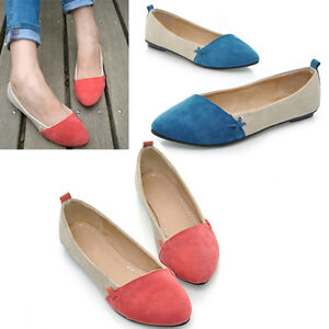New-CaF8-Women-Girl-Shoes-Ballet-Low-Heels-Flat-Loafers-Casual-Comfort-3-Color