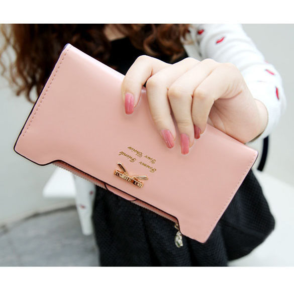 Women Long Leather Thin Wallet Cute Bow Purse Multi ID Credit Card Holder Gift