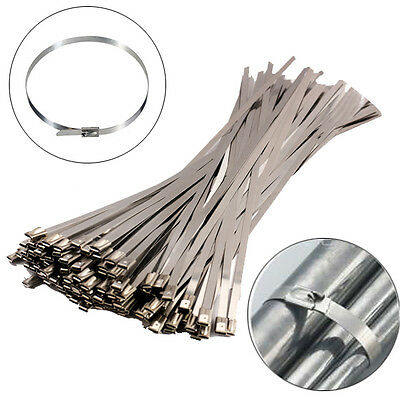 "100Pcs Chrome 12"" Stainless Steel Header Wrap Straps Self Locking Cable Zip Ties"