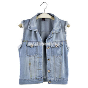 Hot Women's Denim Jean Vest Waistcoat Tanks Jacket Outwear EN24H 2Colors/ Sizes