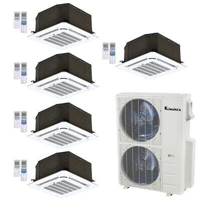 Klimaire 5-Zone 52K BTU 21 Seer 12000 BTU X5 Ceiling AC MiniSplit Heat 15FT Kits