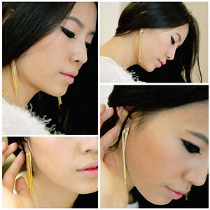 LONG GOLD TASSEL CHAIN EARRING HANGING DROP DANGLE DANGLING UK SELLER FASHION