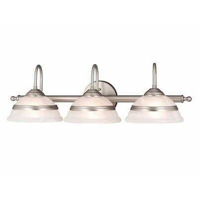 NEW 3 Light Bathroom Vanity Lighting Fixture, Brushed Nickel, White Glass on Rummage