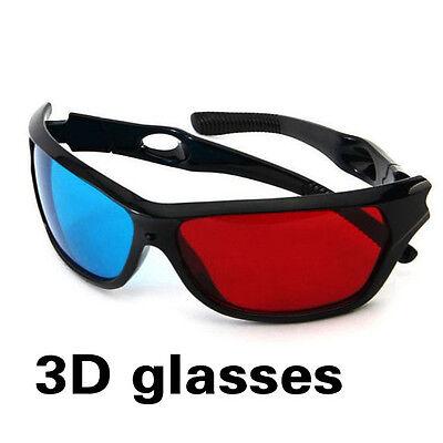 Red Blue 3D Glasses Black Frame For Dimensional Anaglyph TV Movie DVD Game LT