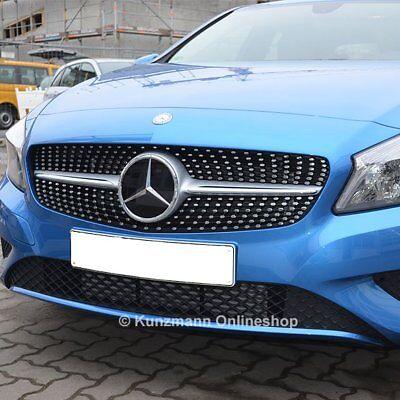 Mercedes Benz A Klasse W176 12-15 Schwarz Silber Kühlergrill Diamant Look &