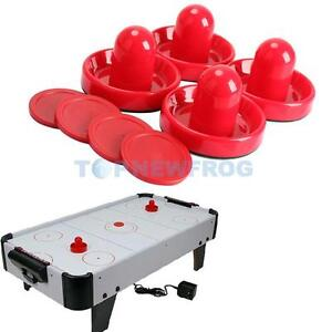 4Pcs Air Hockey Table Goalies with 4pcs Puck Felt Pusher Mallet Grip Red TN2F