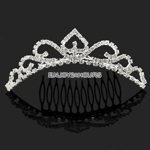 EN2 Hot Crown Rhinestone Tiara Comb Bridal Wedding Accessory Inserting Headdress