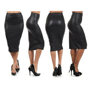 WOMENS WET LOOK FAUX LEATHER PENCIL BODYCON HIGH WAISTED SKIRT 10 12 PVC BLACK