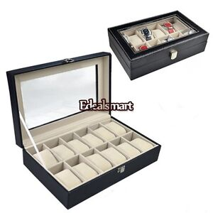 12 Leather Mens Watch Box Display Case Organizer Glass Top Jewelry Storage ES88
