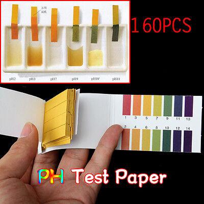 160 Strips Full Range 1-14 Ph Alkaline Acid Test Paper Water Litmus Testing Kit