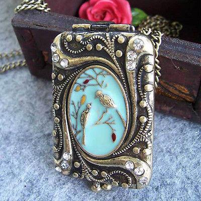 Bronze Antik Damen Medaillon Foto Anhänger öffnen Vintage Medallion aufklappbar