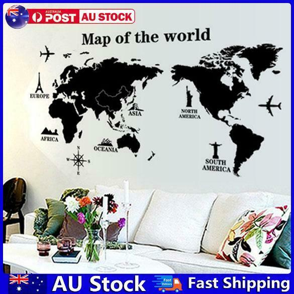 Home Decoration - Map of the World Removable PVC Decal Wall Sticker Home Decor Art Hot  AU