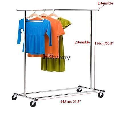 60.8'' Commercial Grade Clothing Garment Rolling Rack Steel Shelf Heavy Duty