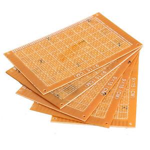 5PCS 9x15cm Prototype Paper Boards PCB Blank Printed Circuit Board DIY