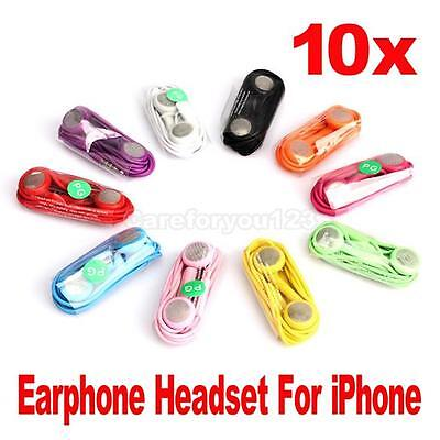 Lot 10 in Ear Earphones Headphones With Mic For iPhone 3G 4G 4S iPod Touch Nano Pk Ipod Nano