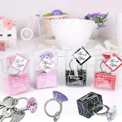 Big Faux Diamond Ring Keychain Keyring Wedding Bridal Shower Crystal Toys Gifts