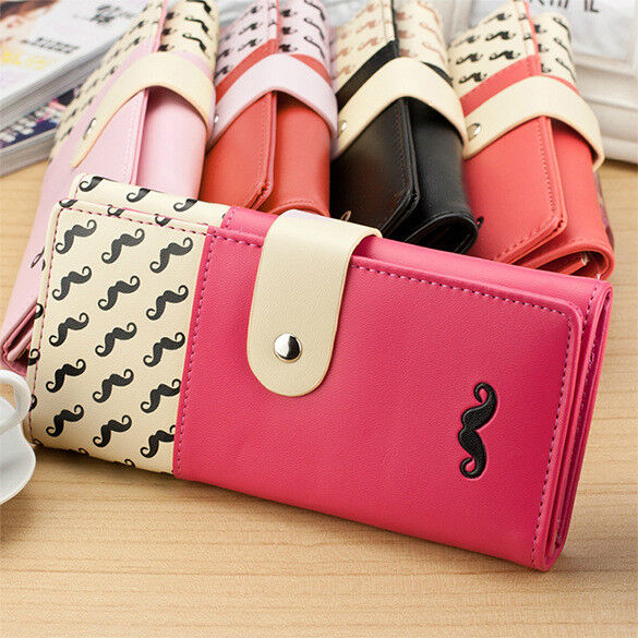 US Women's Fashion Beard Wallet Zipper Leather Long Purse ID Cards Handbag Clothing, Shoes & Accessories