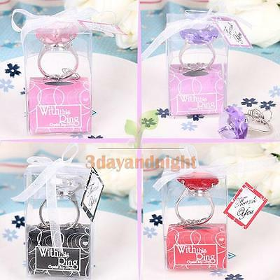 Diamond Crystal Ring Key Chain Wedding Party Gift Set Bridal Shower Favors New