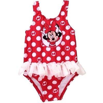 Disney Minnie Mouse Red White Polka Dot One Piece Swimwear Suit Tutu UPF 50+ (Minnie Mouse Suit)
