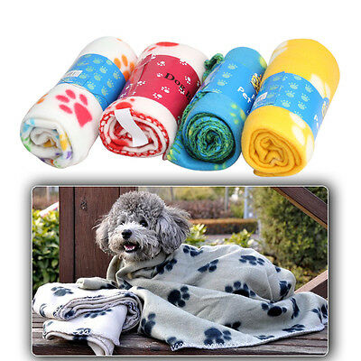 HOT SALE Soft Cozy Paw Prints Handcrafted Puppy Pet Dog Cat Fleece Bed Blanket