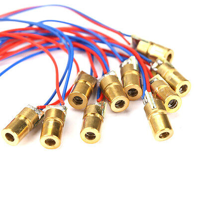 10PCS 650nm 6mm 3V 5mW Tube Laser Dot Diode Module Red Copper Head Mini Pointer