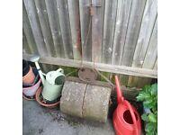 old vintage garden lawn roller