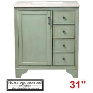 "NEW* HDC HAZELTON 31"" VANITY COMBO - 116404268 - HOME DECORATORS COLLECTION ANTIQUE GREEN CABINET MARBLE TOP BATHROOM..."