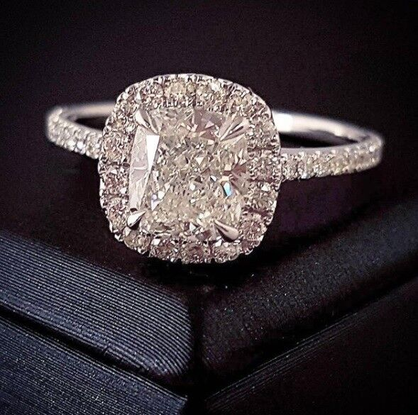 1.60ctw Natural Cushion Cut Halo Pave Diamond Engagement Ring - GIA Certified
