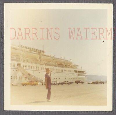 Vintage Photo Woman w/ Princess Carla Cruise Ship & Open Sky View 746938