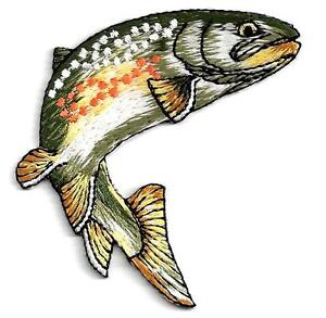 FISHING - FRESHWATER FISH - TROUT - FISHERMAN /Iron On Embroidered  Patch