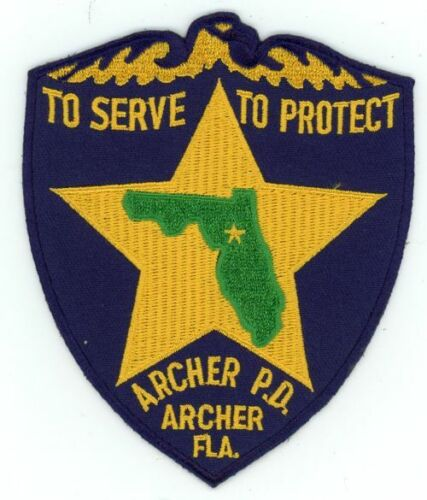 ARCHER POLICE FLORIDA FL POLICE REPRODUCTION NICE PATCH COLORFUL SHERIFF