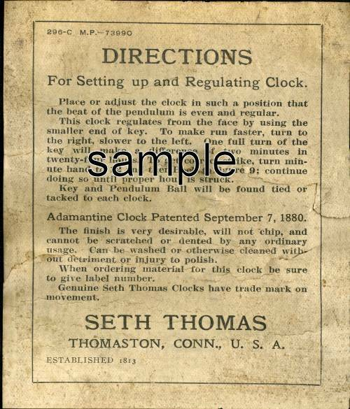 2, EXACT COPYS OF EARLIEST SETH THOMAS ADAMANTINE CLOCK LABELS