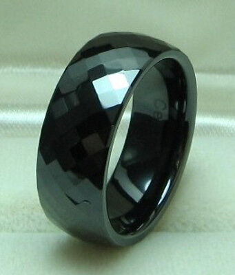 Faceted Black Ceramic Ring - MEN 8mm Faceted Black CERAMIC WEDDING BAND ring size 9