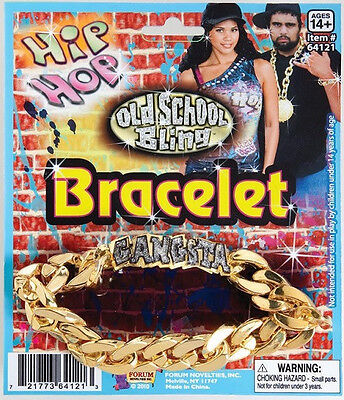Hip Hop Gangsta Bracelet Bling Pimp 80's Fancy Dress Halloween Costume Accessory