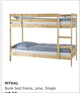 Ikea Bunk Bed Mydal Solid Pine Single