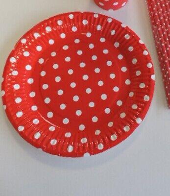 20 Stk Pappteller PUNKTE rot weiss Gepunktet Kindergeburtstag Party Hochzeit (Rot Party Pappteller)