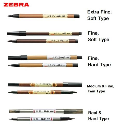 Hard Real /& Hard Type 5 Type Select Zebra Fude Brush Pen  Soft