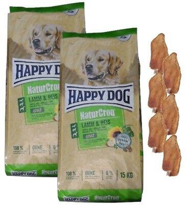 2x15kg Happy Dog  Naturcroq Adult Lamm&Reis  Hundefutter +  6 x Kaninchenohren