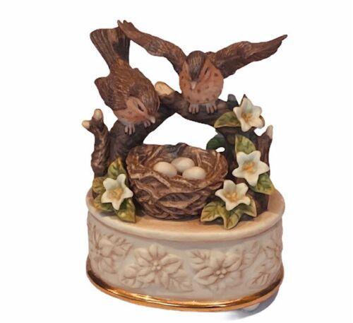 Sparrow figurine sculpture bible verse music box Amazing Grace bird nest egg vtg