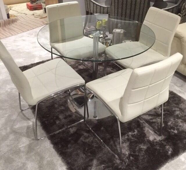 Next glass dining table 4 white faux leather chairs for Glass top dining table next