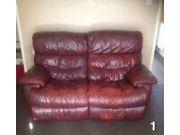 Matching 2-Seater Dark Burgundy Brown Leather Sofas