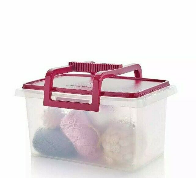 NEW tupperware small carry all storage tote sheer with purple vineyard seal
