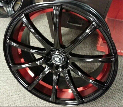 """20"""" White Diamond Wheels 3195 Black Face and Red Inner Rims and Tires with TPMS"""