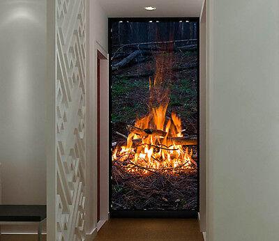 3d wood fire in dark 2 wall