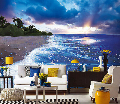 3D Blauer Himmel und Ozean  Fototapeten Wandbild Fototapete BildTapete FamilieDE