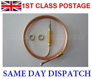 UNIVERSAL GAS FIRE THERMOCOUPLE 900MM LONG COMPLETE WITH M8 NUTS - FREE POSTAGE
