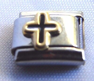 - Italian Bracelet Christian Cross Charm Black Gold Enamel Stainless Steel Link