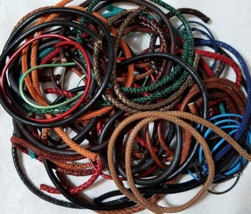 DESTASH LARGE LOT OF GENUINE LEATHER AND SUEDE CORDS - VARIOUS COLORS & LENGTHS